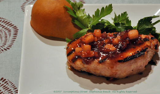 Grilled Pork Loin Chops With Yams And Apples