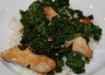 Stir-Fried Chicken on Bitter Greens