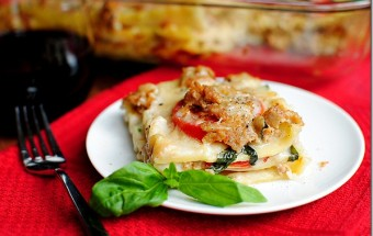 Summer Lasagna with Fresh Mozzarella, Sausage, and Basil