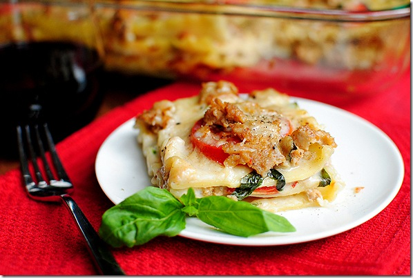 Summer Lasagna with Fresh Mozzarella, Sausage, and Basil ...