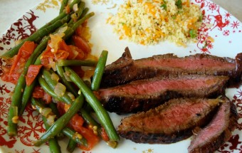 Teriyaki-Rosemary Flank Steak Served on a Bed of