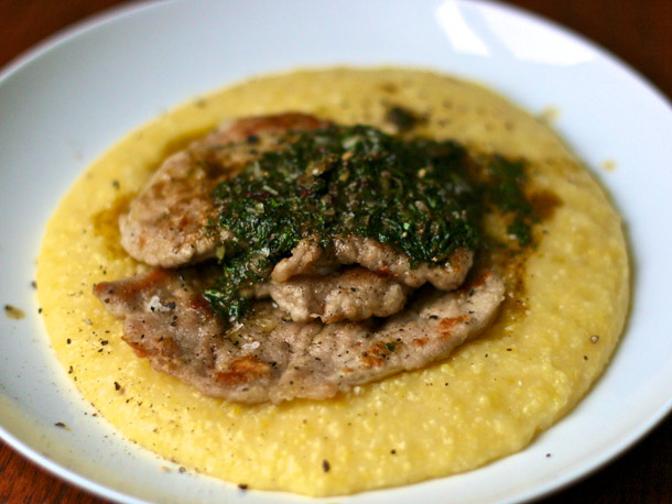 Veal scaloppine with fresh corn polenta and salsa verde-brown butter ...