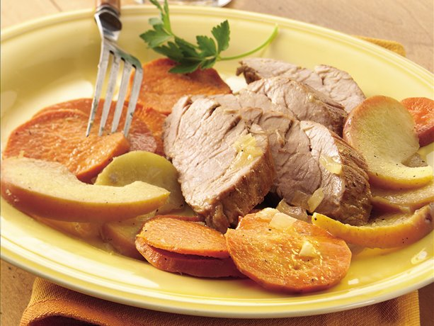 Cider-Brined Roast Pork with Sweet Potatoes and Apples | WizardRecipes