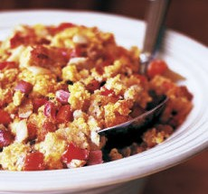 Corn Bread Stuffing with Ham, Fresh Fennel,