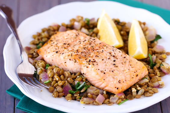 Roasted Salmon on Spicy Lentils | WizardRecipes