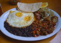 Fried Eggs on Rice and Black Beans