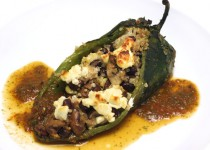 Corn Risotto-Stuffed Poblanos