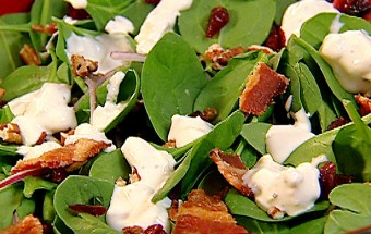 Spinach Salad with Bacon, Blue Cheese, Pecans, and Cranberries