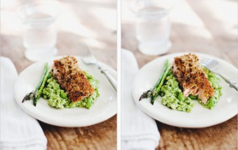 Walnut-crusted wild salmon with edamame mash