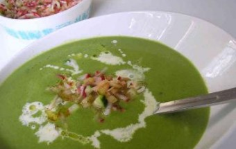 Fresh Green Pea Soup with Shaved Radicchio and Pistachios