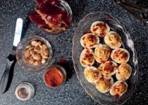 Smoky Deviled Eggs with Crisped Jamon and Crushed Marconas