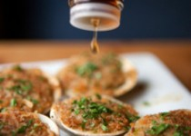 Grilled Clams on the Half-Shell with Garlic Crostini