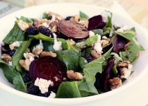 Beet and Spinach Salad with Goat Cheese and Grilled Fresh Figs