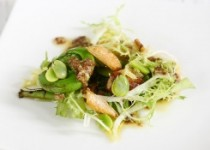 Favas and Fiddleheads with Garlic and Pancetta