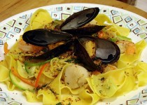 Pappardelle with Smoked Mussels, Shrimp, Yellow Peppers and Black Olives