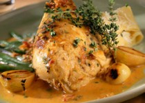 Braised Chicken in Mustard with Garlic and Mascarpone