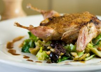 Seared Quail Stuffed with Mascarpone and Green Peppercorns