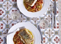 Slow-Roasted Bass with Stewed Artichokes, Pine Nuts, and Bacon