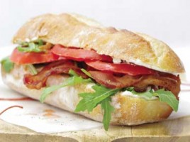 Crispy Bacon, Arugula, Tomato, and  Cream Cheese Sandwiches