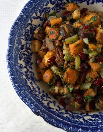 Cornbread Stuffing with Dried Fruits and Hazelnuts