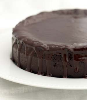 Dark chocolate zucchini cake with ganache glaze