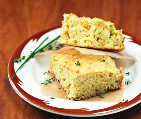 Greek-style cornbread with feta and thyme