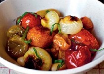 Roasted Tomatoes and Cipollini Onions with White Beans